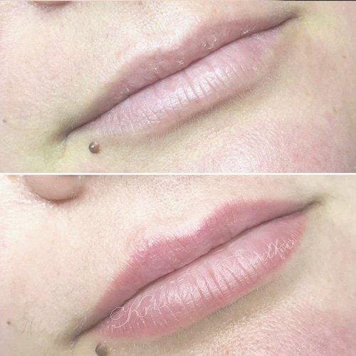 заживший татуаж губ перерд небольшой коррекцией