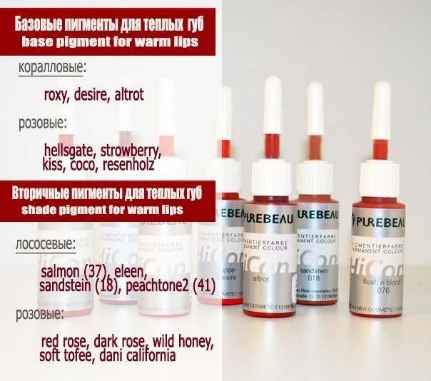 базовые и оттеночные пигменты для теплых губ purebeau