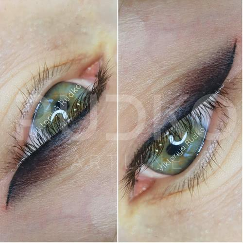 Eyliner permanent makeup right after the procedure