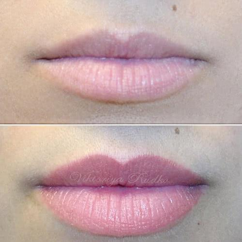 татуаж губ растушевка фото +до +и после
