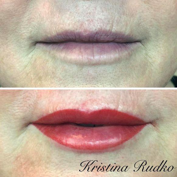 Permanent makeup for aged lips before and after the procedure.