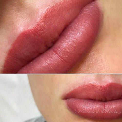 татуаж губ после легкой коррекции