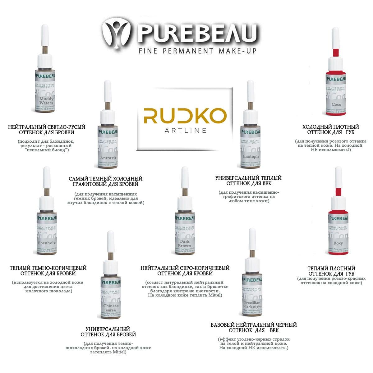 Пигменты для перманентного макияжа век Purebeau (Пьюбо)