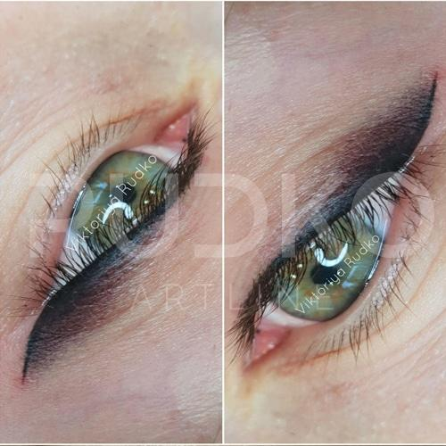 Permanent makeup - upper and lower eyeliner arrows