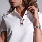 Черная и белая футболка-поло с коротким рукавом. Модель 004-1