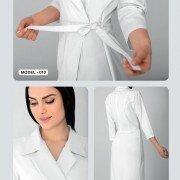 Белое платье с запахом для мастера салона Модель 010