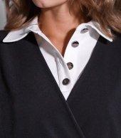 Черная и белая футболка-поло с длинным рукавом. Модель 004